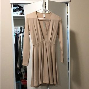 Plunging V long sleeved skater dress